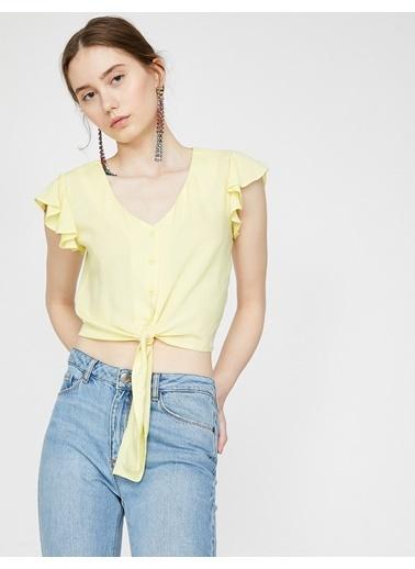 Koton Beli Bağlamalı Gömlek Sarı